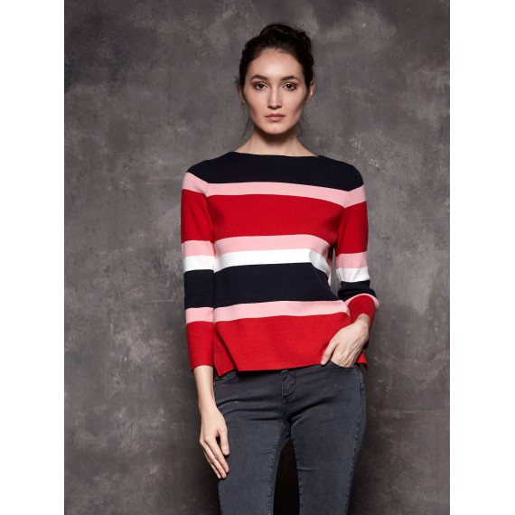 GLO-STORY crewneck stripe sweater